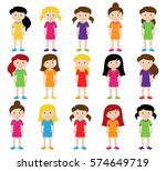collection of cute and diverse... | Shutterstock .eps vector #574649719