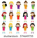 collection of cute and diverse... | Shutterstock .eps vector #574649755