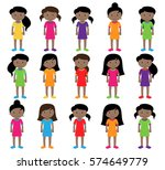 collection of cute and diverse... | Shutterstock .eps vector #574649779