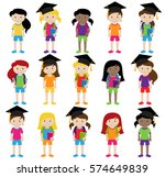collection of cute and diverse... | Shutterstock .eps vector #574649839