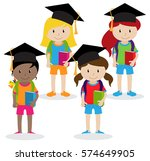 collection of cute and diverse... | Shutterstock .eps vector #574649905