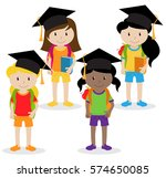 collection of cute and diverse... | Shutterstock .eps vector #574650085