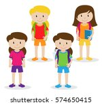 collection of cute and diverse... | Shutterstock .eps vector #574650415
