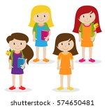 collection of cute and diverse... | Shutterstock .eps vector #574650481