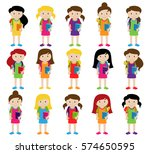 collection of cute and diverse... | Shutterstock .eps vector #574650595