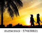 silhouette of people walking or ... | Shutterstock . vector #574658821