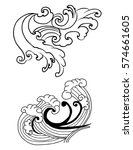 hand drawn japanese wave tattoo ... | Shutterstock .eps vector #574661605