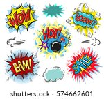 set of comic text  pop art... | Shutterstock .eps vector #574662601