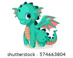 Cute Green Dragon Cartoon Vector