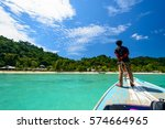 traveling to island with boat... | Shutterstock . vector #574664965