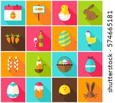 spring easter colorful icons.... | Shutterstock .eps vector #574665181