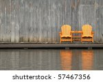 Two wooden chairs - stock photo