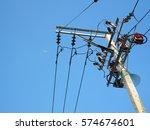 electricity post | Shutterstock . vector #574674601