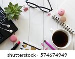 glasses  laptop  coffee and... | Shutterstock . vector #574674949