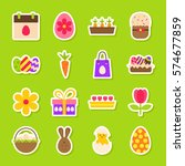 happy easter spring stickers.... | Shutterstock .eps vector #574677859
