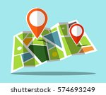 map icon with markers | Shutterstock .eps vector #574693249