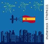 aircraft spain flag icon vector ... | Shutterstock .eps vector #574696111