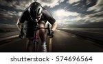 cyclist. sport man cycling on... | Shutterstock . vector #574696564