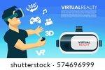 vr glasses 3d virtual reality... | Shutterstock .eps vector #574696999
