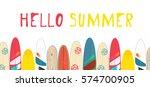 vector hello summer poster... | Shutterstock .eps vector #574700905