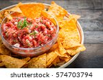 mexican food   nachos and salsa ... | Shutterstock . vector #574703794