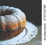 fresh cocoa gugelhupf on old... | Shutterstock . vector #574714789