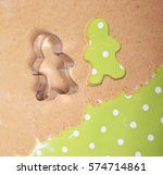 fresh dough with gingerbread... | Shutterstock . vector #574714861