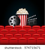 reel  clapboard and pop corn... | Shutterstock .eps vector #574715671