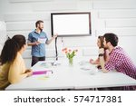 colleagues listening to... | Shutterstock . vector #574717381