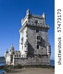 Belem Tower (Torre De Belem), a UNESCO World Heritage Site, built in the 16th century - stock photo