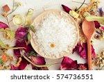 sea salt mineral grains on... | Shutterstock . vector #574736551
