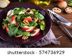 healthy salad plate with apple  ... | Shutterstock . vector #574736929