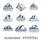 hand drawn mountains logo set.... | Shutterstock .eps vector #574737511