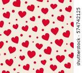 seamless hearts and dots... | Shutterstock .eps vector #574742125