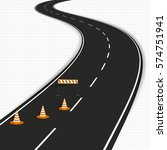 winding road with traffic cones ... | Shutterstock .eps vector #574751941