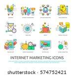 set of flat line design icons... | Shutterstock .eps vector #574752421