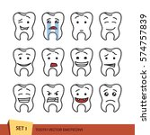 set of tooth outline emoticons. ... | Shutterstock .eps vector #574757839