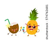 cute and funny pineapple and... | Shutterstock .eps vector #574762681