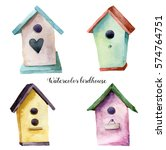 Watercolor Birdhouse Set. Hand...