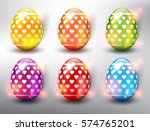 set of 6 color easter eggs.... | Shutterstock .eps vector #574765201