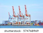 port cargo crane and container  ... | Shutterstock . vector #574768969