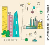 eco city in linear style  ... | Shutterstock .eps vector #574770085