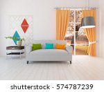 white living room interior with ... | Shutterstock . vector #574787239