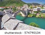 old bridge in mostar bosnia and ... | Shutterstock . vector #574790134