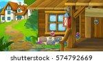 cartoon background of an old... | Shutterstock . vector #574792669