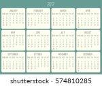 year 2017 monthly calendar....   Shutterstock . vector #574810285