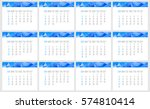 year 2017 monthly calendar.... | Shutterstock . vector #574810414