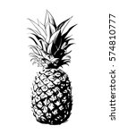 vector hand drawn pineapple.... | Shutterstock .eps vector #574810777