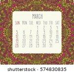 march 2017 vector calendar over ...   Shutterstock .eps vector #574830835