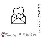 web line icon. love letter. | Shutterstock .eps vector #574832221